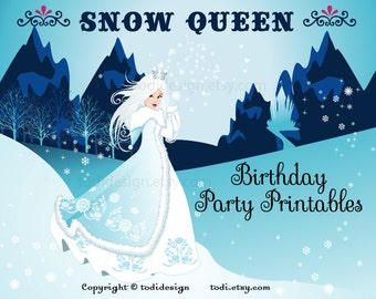 Snow Queen Birthday Party Printables - PERSONALIZED Snow Princess  and Frozen Party Printables