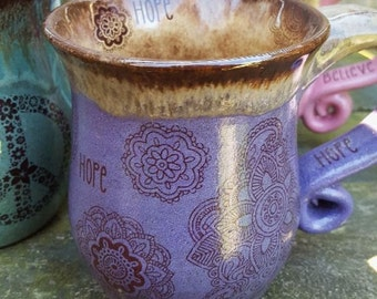 MADE TO ORDER Bohemian Henna Tattoo Coffee Mug tea cup wheel thrown pottery Reiki energy Lightworker Blue Brown Pink Brown Spiritual Cup