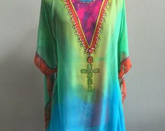 Hand painted Silk Chiffon scarf kaftan