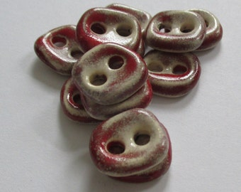 Square Red Chilli Ceramic Buttons