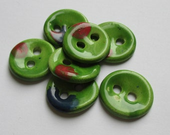 Apple Green Ceramic Buttons