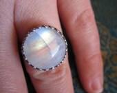 Huge Rainbow Moonstone Sterling Gemstone Ring Size 7