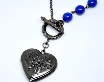 Gunmetal Locket Necklace, Heart Locket, Gunmetal Rose Necklace, Flower Locket, Royal Blue Necklace, Unique Asymmetric Necklace, Front Clasp