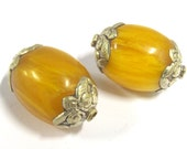 2 BEADS - Large Thick copal resin tibetan silver capped bead - BD0819s