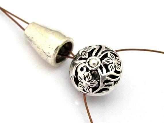 1 Guru bead set - Tibetan silver 3 hole oval shape floral design Guru bead with column bead - GB039