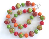 RESERVED - Beaded Necklace and earrings, Ceramic Jewelry, Kazuri Bead Necklace, Orange Red and Green Necklace