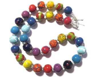 Rainbow Coloured Kazuri Beaded Necklace, Ceramic Jewelry, Kazuri Bead Necklace