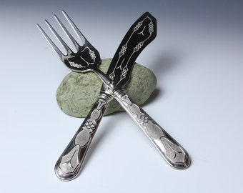 Serving Fork and Knife solid 800 German Silver