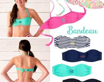 Monogrammed Bandeau Swim Tops