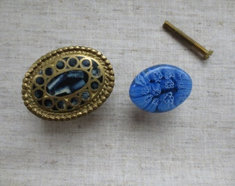 Vintage brass gold tone oval blue glass and stone inlay drawer pulls or knobs. Lot of 2 knobs