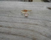 Faceted Pink Chalcedony Cabochon Adjustable Ring