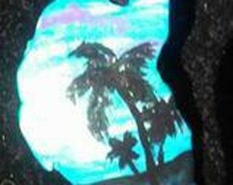 Handpainted florida palm tree pendant necklace
