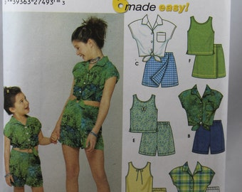 Simplicity 5163, Girl's Tops, Pants and Shorts Pattern, Sewing Pattern, 6 Made Easy, Size 7, 8, 10, 12, 14, Uncut