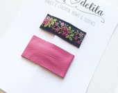 Leather and vintage floral snap clip set- pink leather and black floral
