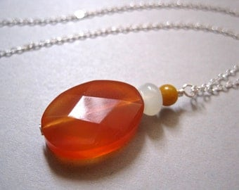 Carnelian Pendant Necklace, Sterling Silver Chain, Jade, Yellow Agate, Modern Stone Necklace, Orange Stone, Sterling Necklace