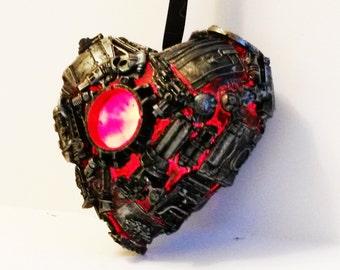 steampunk love heart sculpture, LED lit