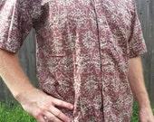 VALENTINES SALE Ethnic Men's Hand Block Printed Indian Woven Cotton Short Sleeve Button Down Pocket Shirt - Mauve Floral -  Elias H817