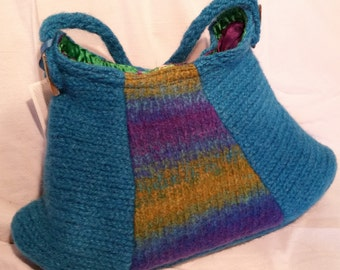 Hand Knit, Felted Hobo Bag with Seashell Buttons, #24