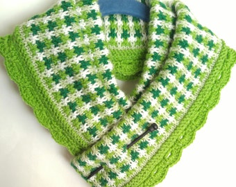 Tiny Shamrock Gingham Check Infinity Scarf