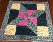 Quilted Table Runner Quilted Table Topper Green Floral