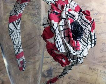 Vintage Fabric Headband - Singed Flower Headband - Flower Hair Accessory - Vintage Hair Accessory - Vintage Button - Red Black White