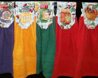 Hanging Kitchen Towels - Country Kitchen - Jam - Fruit