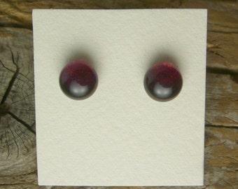 Dichroic Glass Earrings, Deep Burgundy  DGE-864
