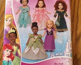 Simplicity Disney Princesd doll clothes pattern for 18 inch dolls. Simplicity pattern J0435. New!