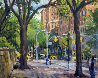 Along Central Park on Fifth Avenue, NYC. Oil on Canvas, 12x12 Impressionist Cityscape, New York City Oil Painting, Signed Original Fine Art