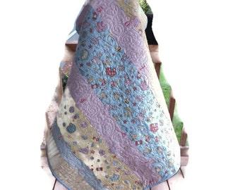 Modern Patchwork Vintage Baby fabrics blue pink Baby Quilt Quilt