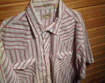 Vintage Pearl Snap Western Shirt // Short Sleeve // Sheplers // Mens XL