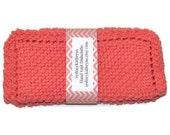 Hand Knit Dish Cloths Bright Coral