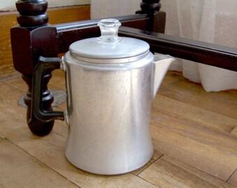 Vintage Mirro Aluminum 491M 4 Cup / 1 Quart Stove Top Coffee Pot with Glass Percolator Top Knob
