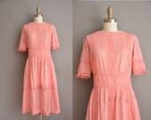 vintage 1910s pink cotton lace antique lawn dress / vintage 1910s dress
