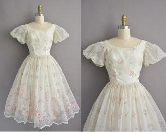 50s pink rose chiffon cupcake vintage dress / vintage 1950s dress