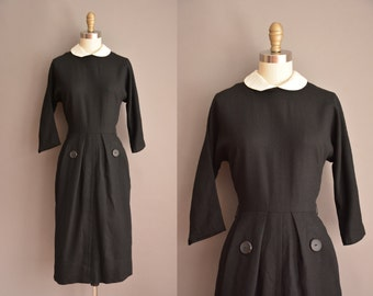 50s Regencry black wool vintage dress / vintage 1950s dress