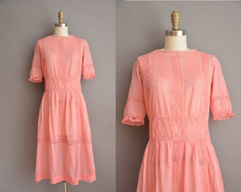 vintage 1910s pink cotton lace antique lawn dress / vintage 1910s dress