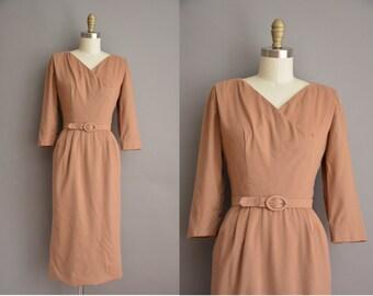 50s soft wool camel brown vintage wiggle dress / vintage 1950s dress
