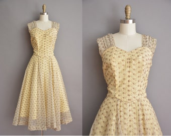 50s yellow and brown embroidered chiffon vintage party dress / vintage 1950s dress