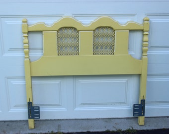 Vintage French Provincial Bedroom Twin Size Bed Headboard Yellow Cream