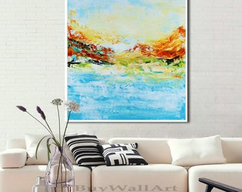 Abstract floral painting print, original painting print, field  painting, landscape Print, blue Abstract, large white art, minimalist print