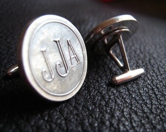 Monogrammed  Cuff Links Cufflinks in Sterling Silver - Roman Font