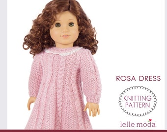 Rosa Cable Knitted Dress for American Girl dolls, Knitting Pattern for 18 inch doll Dress,  doll dress pattern, PDF instant download