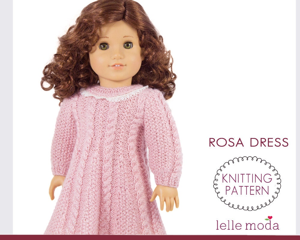 Rosa Cable Knitted Dress for American Girl dolls Knitting
