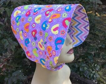 Toddler Sun Hat, BONNET, Sun Hat, Reversible Bonnet, Bird Hat, Purple Hat, Baby Bonnet, Sun Bonnet, Chevron Design, Pastel Colors, Toddler