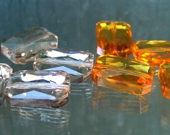 """15"""" 20mm Yellow / Green Rectangle Designer Crystal Glass Faceted nugget Beads - full / half strand - pick color"""