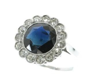 Summer Sale Platinum Art Deco diamond sapphire engagement ring