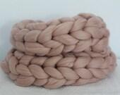 Super Chunky Bulky Infinity Scarf.  Snood Scarf.  Pearl Pink Merino Wool