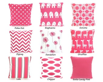 Pink Black White Pillow Covers, Decorative Throw Pillows, Cushions, Pink White Girls Bedroom Pillow, One or More ALL SIZES Mix & Match