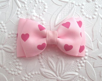 Valentine's Day Hair Bow ~ Toddler Valentine Bow, Girls Heart Hair Clip ~ Pastel Light Pink Hair Bow ~  Baby Hair Bow ~ Tuxedo Bow